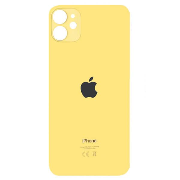 درب پشت گوشی آیفون IPHONE 11 اورجینال زرد با حفره بزرگ